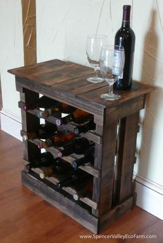 Dark Pallet Wood 12 bottle Wine Rack Floor by SpencerValleyEcoFarm