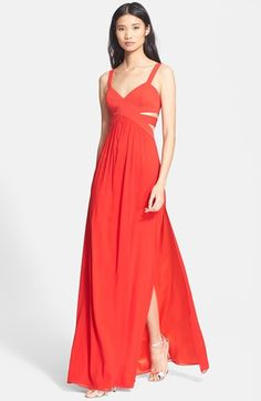 red cutout silk gown @nordstrom