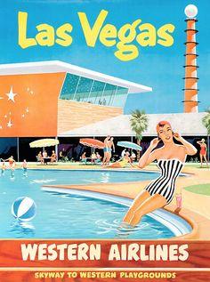 Mod Western Airlines Las Vegas travel art.