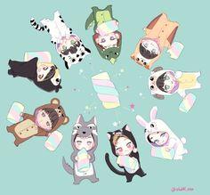 Exo fanart ♥ exo cute chibi chanyeol kai baekhyun xiumin d. Exo Xiumin, Kpop Exo, Exo Ot12, K Pop, Kawaii, Exo Cartoon, Exo Anime, 5 Years With Exo, Exo Fan Art