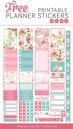 Grab these FREE printable spring planner stickers! Planner Free, Happy Planner Cover, To Do Planner, Daily Planner Printable, Mini Happy Planner, Planner Template, Planner Pages, Schedule Templates, Weekly Planner