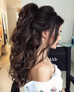 Half Up Half Down Long Wedding Hairstyles 2017 Half Up Half Down Lange Hochzeitsfrisuren 2017 Quince Hairstyles, Wedding Hairstyles For Long Hair, Wedding Hair And Makeup, Ponytail Hairstyles, Diy Hairstyles, Hairstyle Ideas, Updos, Hairstyles Pictures, Wedding Updo