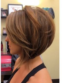 CUT; Inverted Bob with side swept fringe, though Hate those long wisps at the front! Why!!?