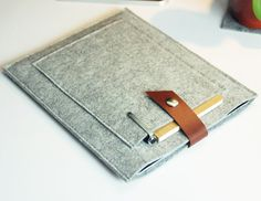 Felt iPad case , iPad sleeve , iPad bag , iPad cover , Customized Kindle sleeve , with leather switch  and two pocket (501) on Etsy, $28.00