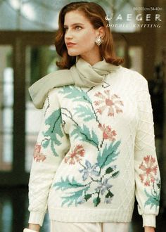 Sweater Knitting Patterns, Knitting Yarn, Floral Sweater, Double Knitting, Bat Wings, Turtle Neck, Lady, Sleeves, Sweaters