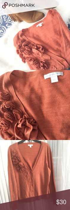 Beautiful dusty orange cardi Great condition. Beautiful color and lovely floral detail. This sweater also has beautiful orange jewled buttons. Measurements: chest 22 length 25 New York & Company Sweaters Cardigans