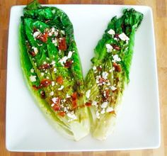 Grilled romaine salad recipe...yummy with blue cheese...and get this, they use a George Foreman grill...amazing!