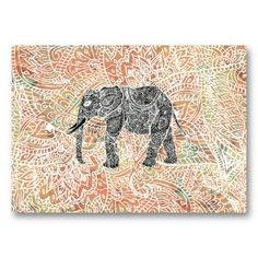 Boho elephant wall tapestry - black and white sketch of a wild elephant with abstract floral paisley pattern on a colorful tribal henna pattern with fashion colors, in coral, orange. Wild Elephant, Indian Elephant, Elephant Love, Elephant Art, Elephant Shower, Colorful Elephant, Elefante Tribal, Henna Patterns, Wall Patterns