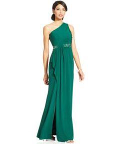 JS Boutique One-Shoulder Embellished Ruffle Gown | macys.com