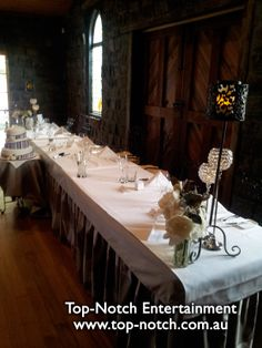 Wedding table place setting at Roomba's, Mount Aitken, Victoria.  www.top-notch.com.au  www.facebook.com/WeddingDJTopNotch