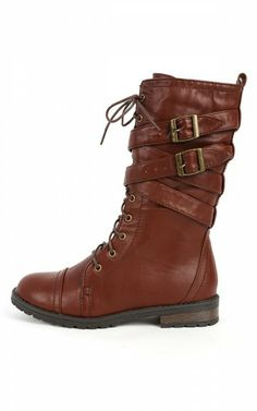 MixUp Lace Up Strappy Combat Boots BROWN