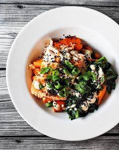 Super Food Dinner Bowls (sweet potato, salmon, and kale with ginger miso dressing)