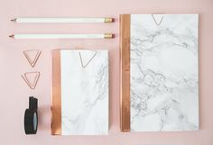 DIY Marble + Copper Stationery: http://www.stylemepretty.com/living/2015/11/10/diy-marble-and-copper-stationery/