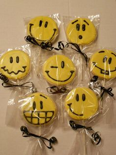 Smiley cookie pops.