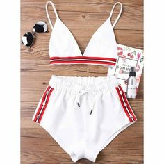 Kenancy Fashion Two Pieces Women Set Sexy Bra Crop Top with High Cut Tie Elastic Waist Shorts Suit Outfits Beachwear Women Sets Trendy Fashion, Kids Fashion, Fashion Outfits, Latest Fashion, Fashion Hub, Fashion Clothes, Fashion Women, Fashion Online, Summer Outfits