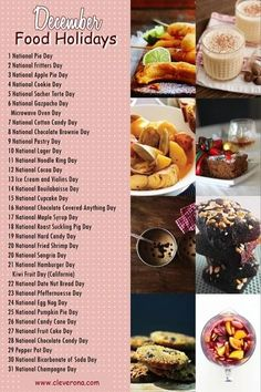 December is a whole month filled with so much celebration. Here's a list of important food holidays for this month. Plus recipes too! National Cookie Day, National Days, Daily National Holidays, Silly Holidays, December Holidays, Fun Calendar Days, Food Calendar, December Calendar, Calendar 2020