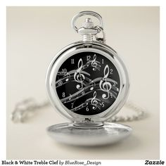Black & White Treble Clef Pocket Watch Personalized Pocket Watch, Treble Clef, Pocket Watches, Make A Gift, Christmas Card Holders, Cool Watches, Colorful Backgrounds, Quartz, Black And White