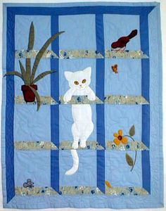 Cat in the Window quilted wall hanging ^ 38 x 48 inches $13.50. Bonnet Girl Quilt Patterns - Helen Scott. Cat climbs on glass shelves to reach the bird and knocks off the plants!      http://www.bonnetgirls.com/wall_hangings.htm
