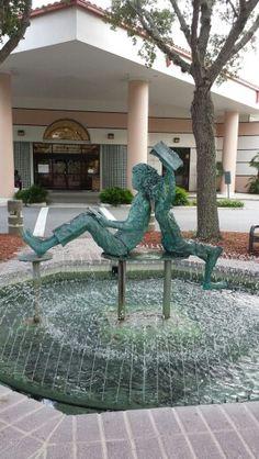 Library fountain- Port Orange, Florida