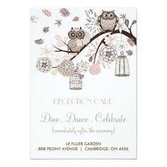 Owl Wedding Invitations Blush and Grey Owls Wedding Reception Card