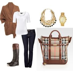 Completely Burberry. LOVE the black/brown boot.