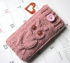 iPhone 5/ 4 case iPod Touch cover Android phone Smartphone bag, HTC Droid Incredible, Owl knit in Rose Cream / Coral / Pink. $12,50, via Etsy.