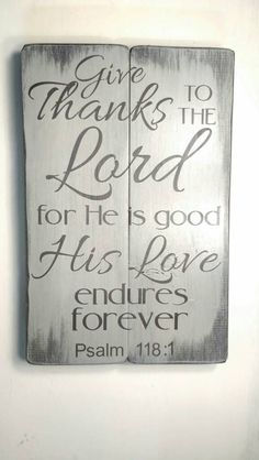 Give Thanks Sign - Christian Wall Art - Give Thanks - Wood Signs with Scripture - Scripture Signs - Scripture Wall Art - Christian Gifts Fall Wood Signs, Diy Wood Signs, Pallet Signs, Rustic Signs, Christian Decor, Christian Wall Art, Christian Gifts, Bible Verse Signs, Scripture Wall Art