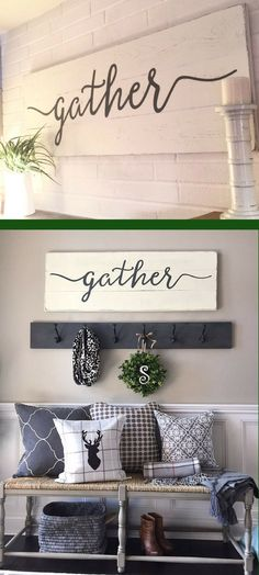 Gather sign | rustic wall decor | wall decor | gather wood sign | wood signs | wooden signs | farmhouse sign | afflink