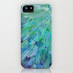 SEA SCALES Custom iPhone 4 4S 5 5S or 5C Case by EbiEmporium, $40.00 Blue Teal Green Ombre Ocean Waves Bird Feathers Abstract Painting Design