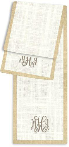 3-Letter Block Cream and Linen Monogram Table Runner