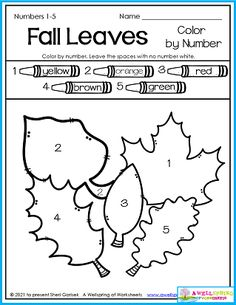 This simple color by number is a great way to ease your kids into the autumn season and into a new and sometimes frightening new year. Keep it simple to start out with! You'll find this page in my 50 page Fall Worksheets for Kindergarten set. It includes all kinds of themes in a variety of worksheets targeting a good number of skills. Please check it out! Counting Worksheets For Kindergarten, Alphabet Tracing Worksheets, Upper And Lowercase Letters, School Themes, Autumn, Fall, Number, Simple, Check