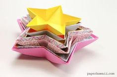 Origami Star Bowl Instructions Learn how to make a simple origami star dish or bowl, use these to serve snacks at parties or hang them up as paper decorations! Origami Design, Origami Diy, Origami Simple, Origami Love Heart, Origami Yoda, Origami Star Box, Origami Ball, Origami Dragon, Paper Crafts Origami