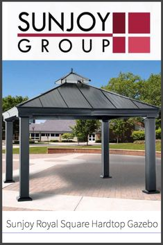This gorgeous, bold gazebo has a hardtop and features aluminum and steel construction for a durable structure that will provide shade and last a long time. Backyard Gazebo, Pergola, Patio, Black Gazebo, Hardtop Gazebo, Outdoor Seating, Outdoor Decor, Hanging Curtains, Perfect Place