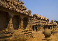 Rear View of Rock-cut Dharmaraja, Bhima And Arjuna Ratha Temples, Mahabalipuram, Tamil Nadu, India