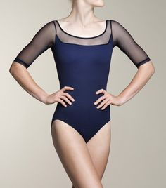Ainsliewear. This lovely Celeste leotard with mesh trim will make you truly stand out on the mat. Beautiful!
