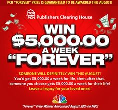 """Enter to """"Win $5,000 a Week Forever"""" From Publishers Clearing House! #ad http://momalwaysfindsout.com/2013/07/publishers-clearing-house/"""