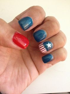 Captain America nail art for opening day!  Why yes, yes I am a Fan Girl. #captainamerica #captainamercanailart #nailart