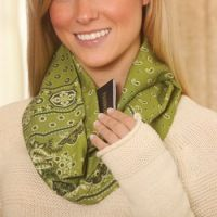 Pattern for an infinity Scarf with a pocket! Great to carry keys & ID when jogging/walking.