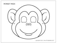 A printable monkey mask to use to make a stick puppet. Color and tape to a popsicle stick and wrap pipe cleaners around the stick for arms.