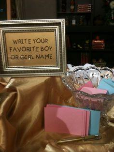 Gender Reveal - Everyone writes down their favorite boy/girl name!