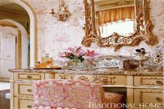 Frothy French dressing area in Oklahoma. Charles Faudree in Traditional Home. Frothy French dressing area in Oklahoma. Charles Faudree in Traditional Home. Romantic Room, Romantic Homes, Office Color, Tocador Vanity, Dressing Area, Dressing Tables, Dressing Rooms, French Country Cottage, French Decor