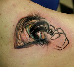 occhio con ragno / eye withe spider tatuaggio semirealistico