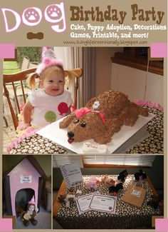 Kids Dog Birthday Party! Super cute with easy DIY dog cake, cardboard dog house, adopt a puppy activity, food suggestions, and {free} printables. So cute!
