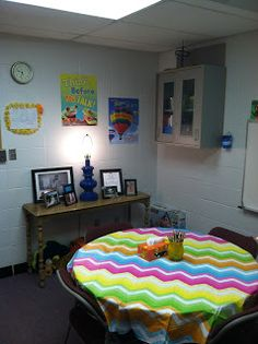 A Fellow School Counselor: First Day Back!- and an office full of pictures! like the colors. School Counselor Office, Counseling Office Decor, High School Counseling, Elementary School Counselor, School Office, Office Fun, Future Office, School School, School Classroom