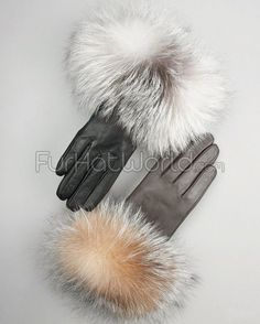 Fox Fur Trim Leather Gloves - Cashmere Lined - Crystal / Indigo