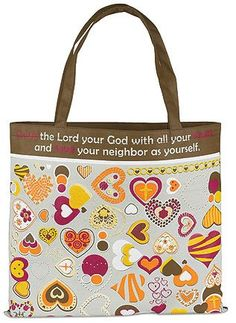 """Womenso Love the Lord Your God with All Your Heart 13"""" Nylon Tote Bag Needzo Religious Gifts,http://www.amazon.com/dp/B00ANDZSI8/ref=cm_sw_r_pi_dp_cwqLsb183FR6NMKK"""