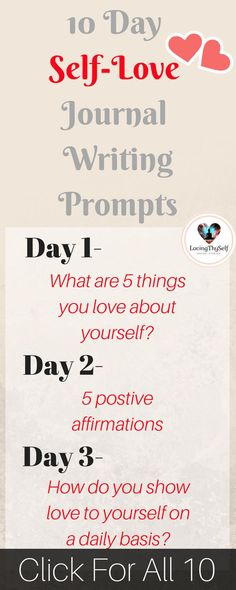 10 day self-love journal writing prompts to ignite the best and lovely version of yourself. when you are able to love yourself, you are able to have others love you and love others. Self-love is also extremely important for your mental and emotional health. so start now by taking the time to journal it all out and im here to help you get started. plus when you are done you can enjoy my free self-love challenge! for more: lovingthyself.net #selflove #journal #writingprompt #writing