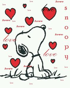 Snoopy Surrounded By Falling Hearts For Valentine's Day