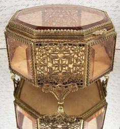 Glass Ormolu Jewelry Casket Box