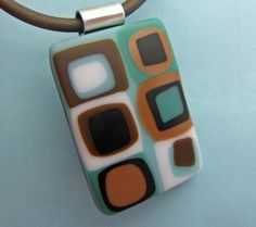 Aqua Latte Pendant, Fused Glass Jewelry from North Carolina on Etsy, £18.73